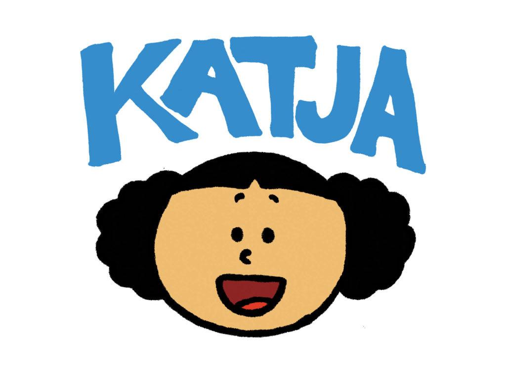 Hodet til Katja under en blå Katja logo
