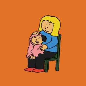 Mamma tørker håret til Katja
