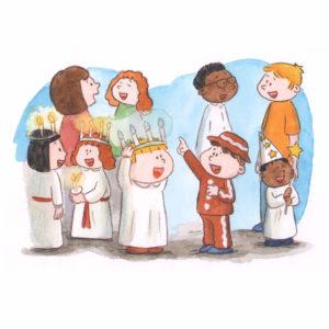 Voksne og barn er samlet til Lucia