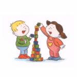 Bo og Nora bygger med klosser