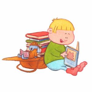 Bo gar til biblioteket, Bo og tøykaninen leser bøker