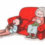 Oj, vad du kan vinka, pappa har sovnet, bestemor har baby på fanget