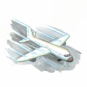 Flyet tar av fra rullebanen