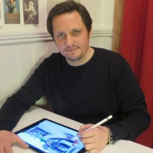 Morten N. Pedersen drawing on an ipad