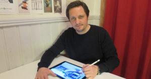 Morten N. PEdersen drawing on an ipad