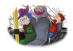 Fjoor bothers an old lady on the bus